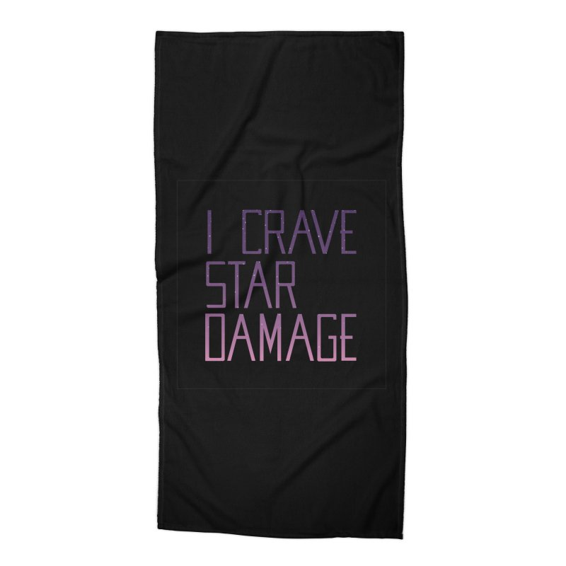 STRANGE PLANET: STAR DAMAGE - BLACK ACCESSORIES AND PRINTS Accessories Beach Towel by Nathan W Pyle