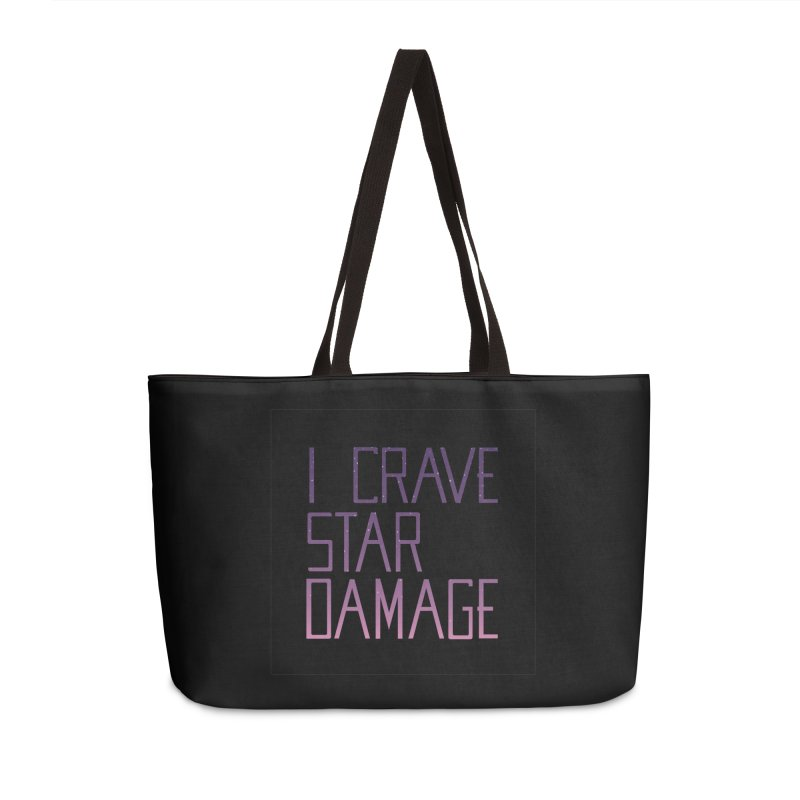 STRANGE PLANET: STAR DAMAGE - BLACK ACCESSORIES AND PRINTS Accessories Weekender Bag Bag by Nathan W Pyle
