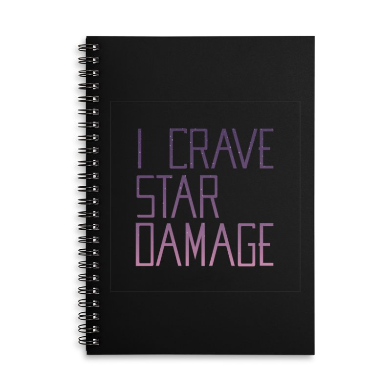 STRANGE PLANET: STAR DAMAGE - BLACK ACCESSORIES AND PRINTS Accessories Lined Spiral Notebook by Nathan W Pyle