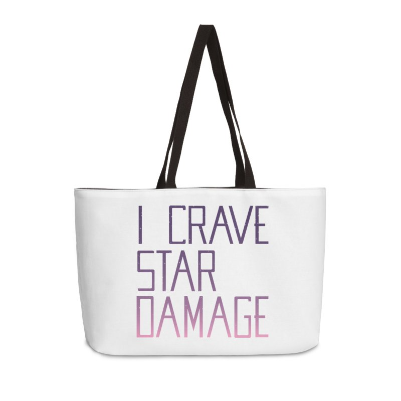 STRANGE PLANET: STAR DAMAGE - WHITE ACCESSORIES AND PRINTS Accessories Weekender Bag Bag by Nathan W Pyle