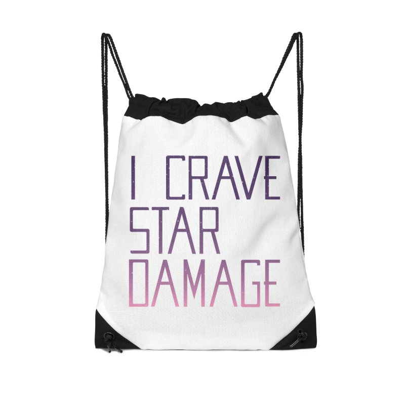 STRANGE PLANET: STAR DAMAGE - WHITE ACCESSORIES AND PRINTS Accessories Drawstring Bag Bag by Nathan W Pyle