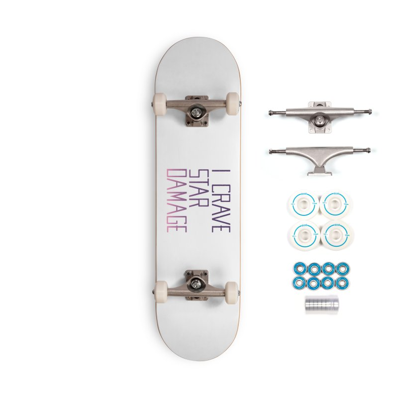 STRANGE PLANET: STAR DAMAGE - WHITE ACCESSORIES AND PRINTS Accessories Complete - Basic Skateboard by Nathan W Pyle
