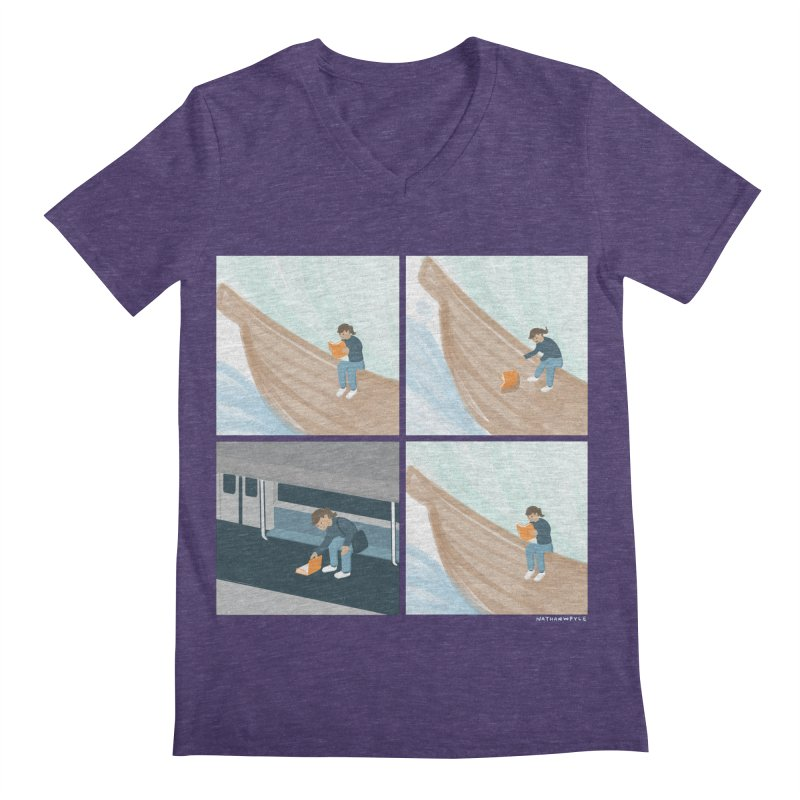 Lost In A Good Book Men's Regular V-Neck by Nathan W Pyle
