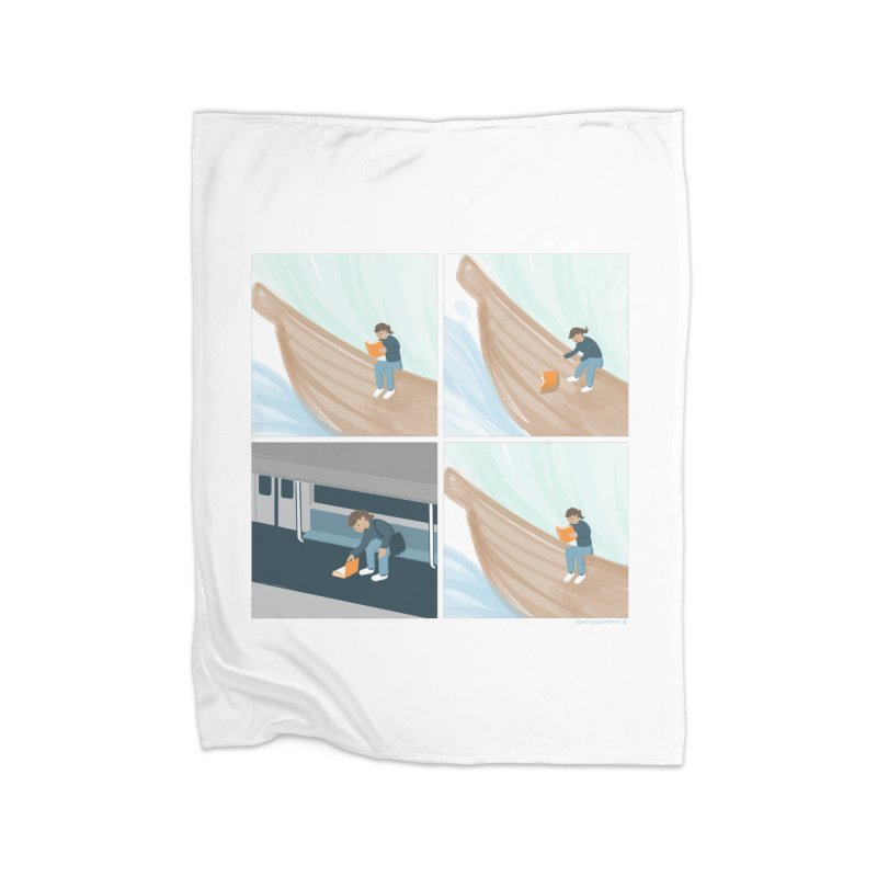 Lost In A Good Book Home Fleece Blanket Blanket by Nathan W Pyle