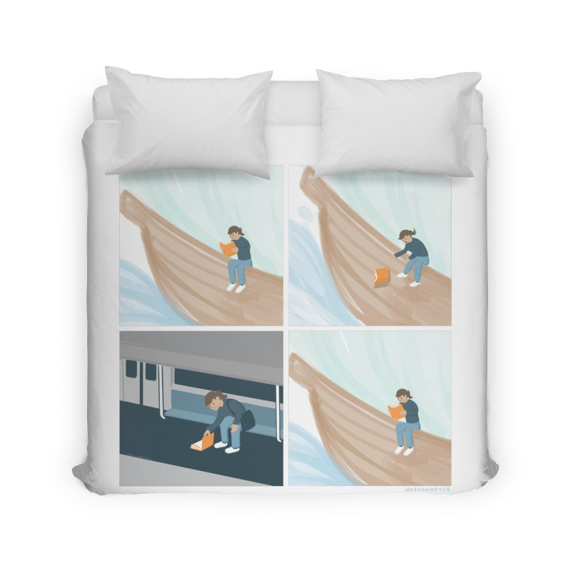 Lost In A Good Book Home Duvet by Nathan W Pyle