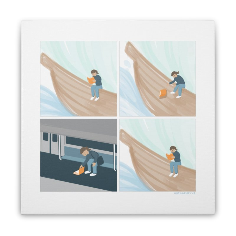 Lost In A Good Book Home Stretched Canvas by Nathan W Pyle