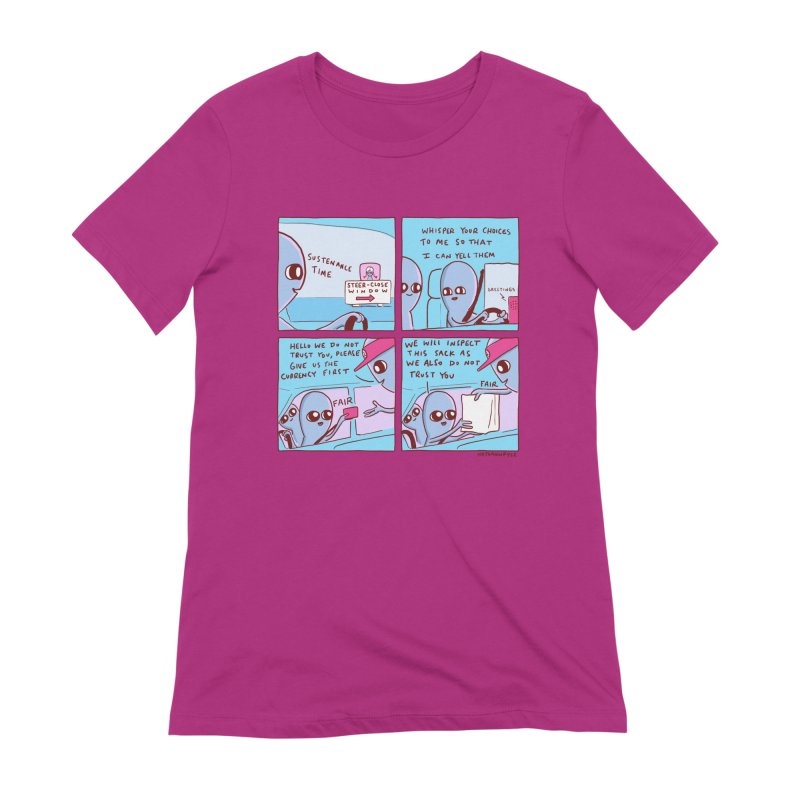 STRANGE PLANET: STEER-CLOSE WINDOW Women's Extra Soft T-Shirt by Nathan W Pyle
