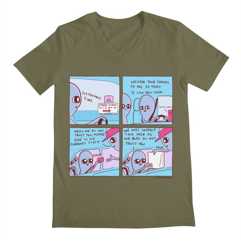 STRANGE PLANET: STEER-CLOSE WINDOW Men's Regular V-Neck by Nathan W Pyle