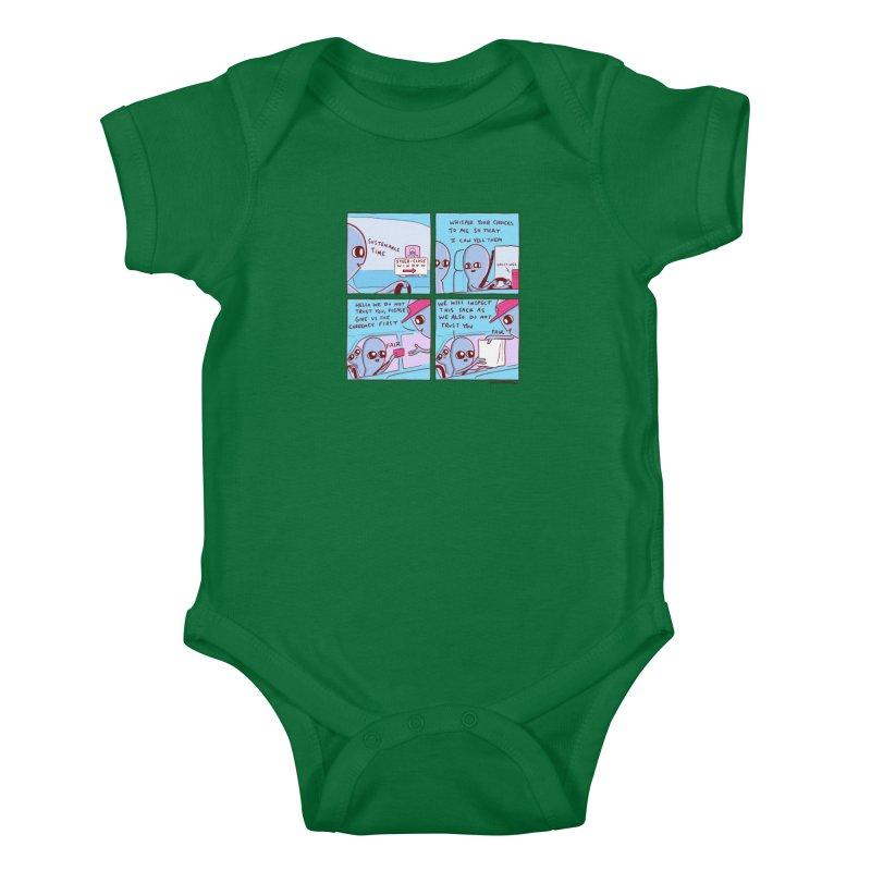 STRANGE PLANET: STEER-CLOSE WINDOW Kids Baby Bodysuit by Nathan W Pyle