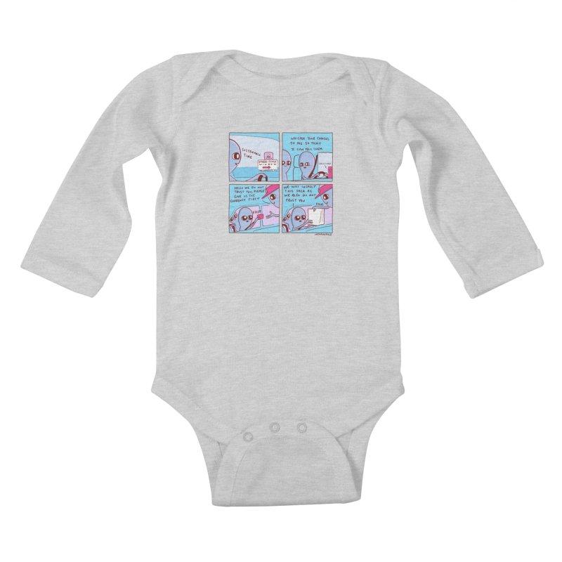 STRANGE PLANET: STEER-CLOSE WINDOW Kids Baby Longsleeve Bodysuit by Nathan W Pyle