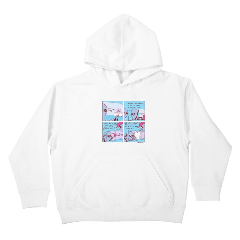 STRANGE PLANET: STEER-CLOSE WINDOW Kids Pullover Hoody by Nathan W Pyle