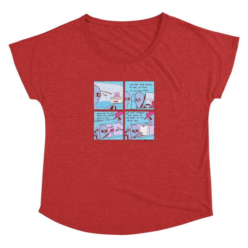 STRANGE PLANET: STEER-CLOSE WINDOW Women's Dolman Scoop Neck by Nathan W Pyle