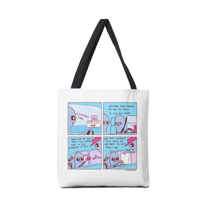 STRANGE PLANET: STEER-CLOSE WINDOW Accessories Tote Bag Bag by Nathan W Pyle