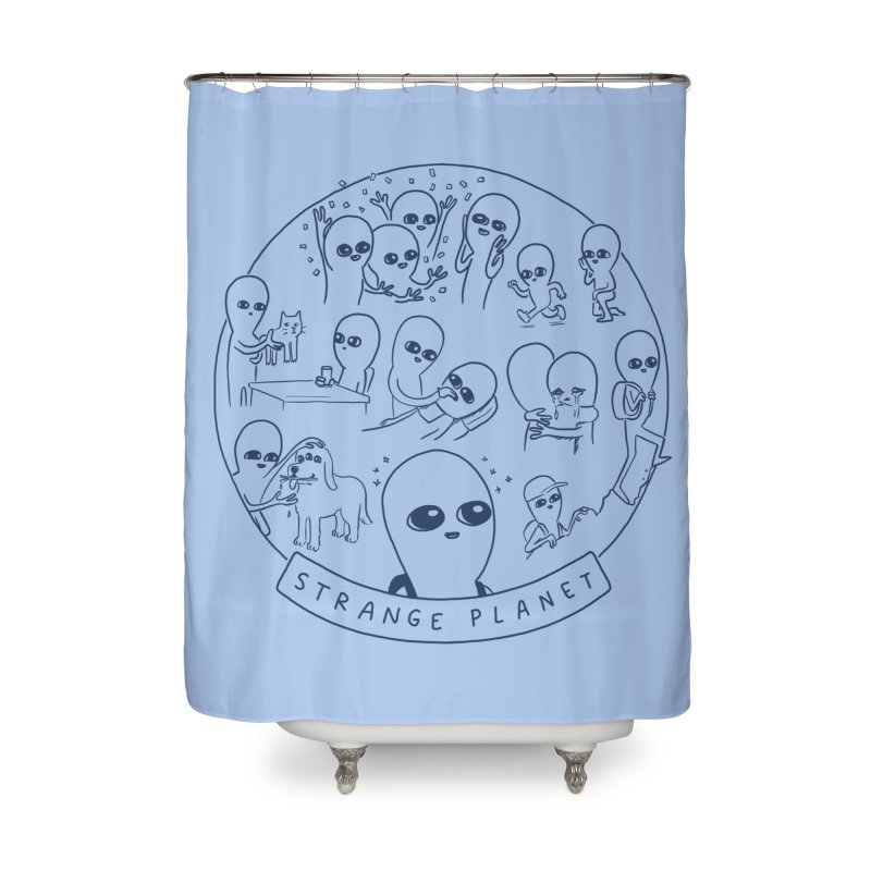 STRANGE PLANET: SUMMER CAMP DESIGN Home Shower Curtain by Nathan W Pyle