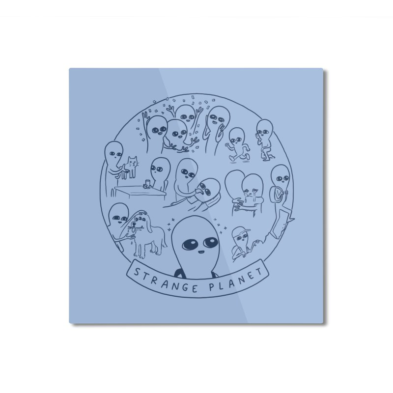 STRANGE PLANET: SUMMER CAMP DESIGN Home Mounted Aluminum Print by Nathan W Pyle