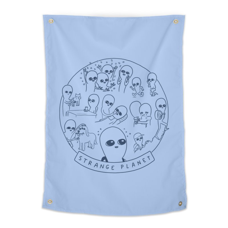 STRANGE PLANET: SUMMER CAMP DESIGN Home Tapestry by Nathan W Pyle