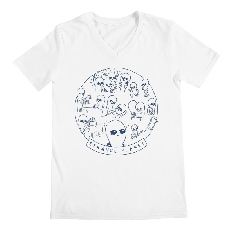 STRANGE PLANET: SUMMER CAMP DESIGN Men's Regular V-Neck by Nathan W Pyle