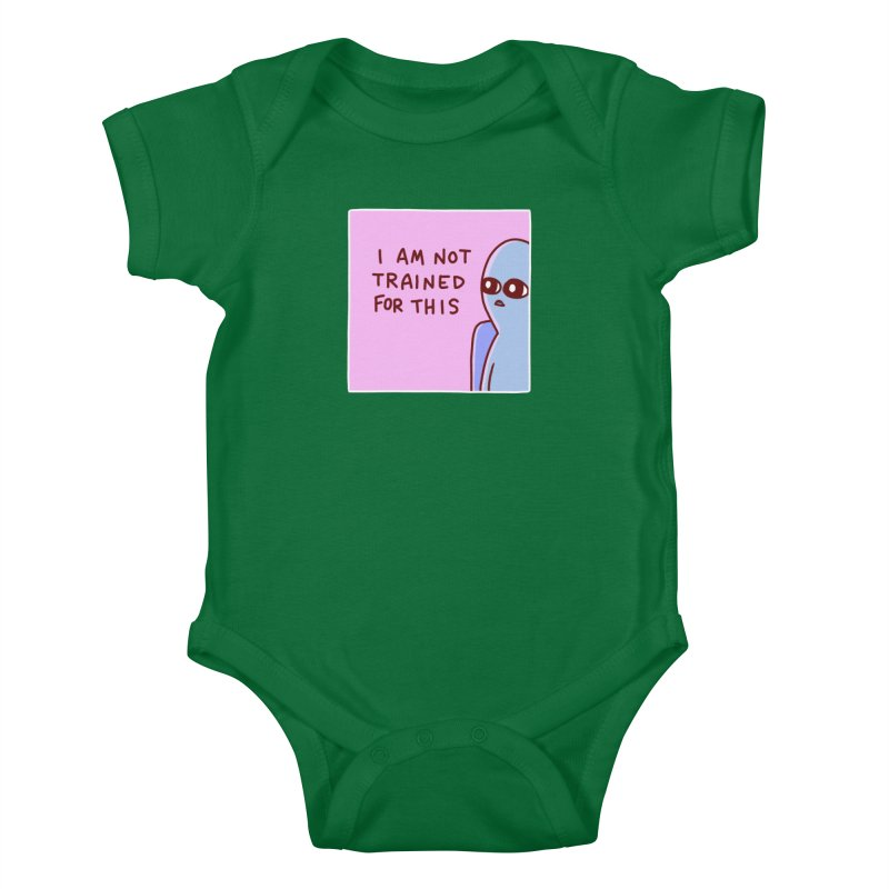 STRANGE PLANET SPECIAL PRODUCT: I AM NOT TRAINED FOR THIS Kids Baby Bodysuit by Nathan W Pyle