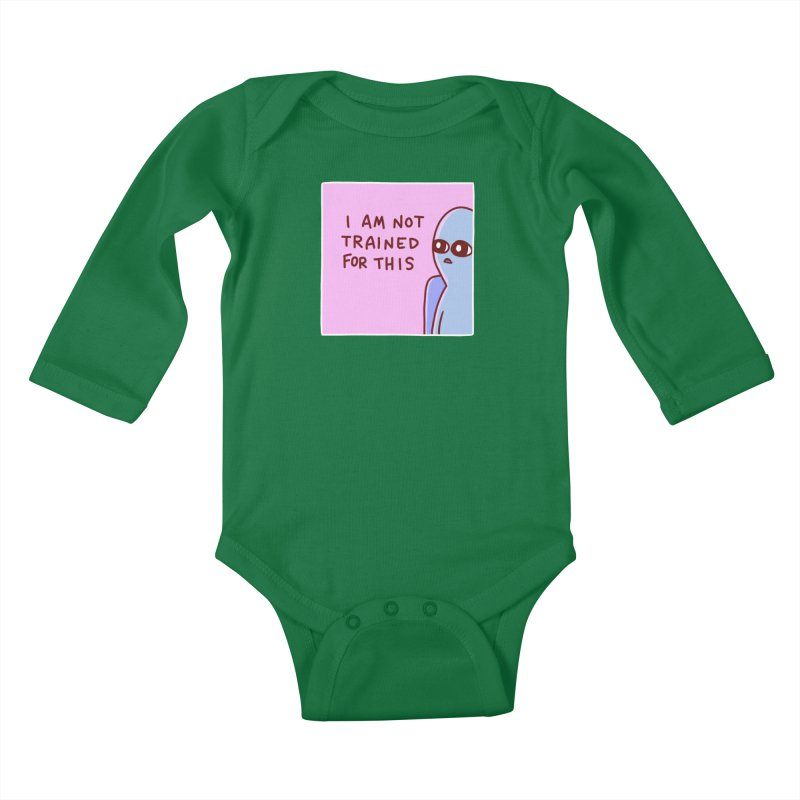 STRANGE PLANET SPECIAL PRODUCT: I AM NOT TRAINED FOR THIS Kids Baby Longsleeve Bodysuit by Nathan W Pyle