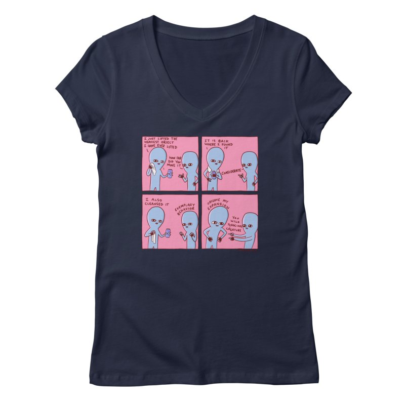 STRANGE PLANET: OBSERVE MY EXPANSION Women's Regular V-Neck by Nathan W Pyle