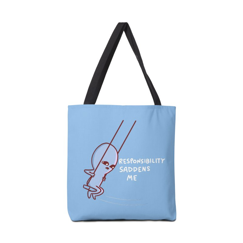 STRANGE PLANET SPECIAL PRODUCT: RESPONSIBILITY SADDENS ME Accessories Tote Bag Bag by Nathan W Pyle