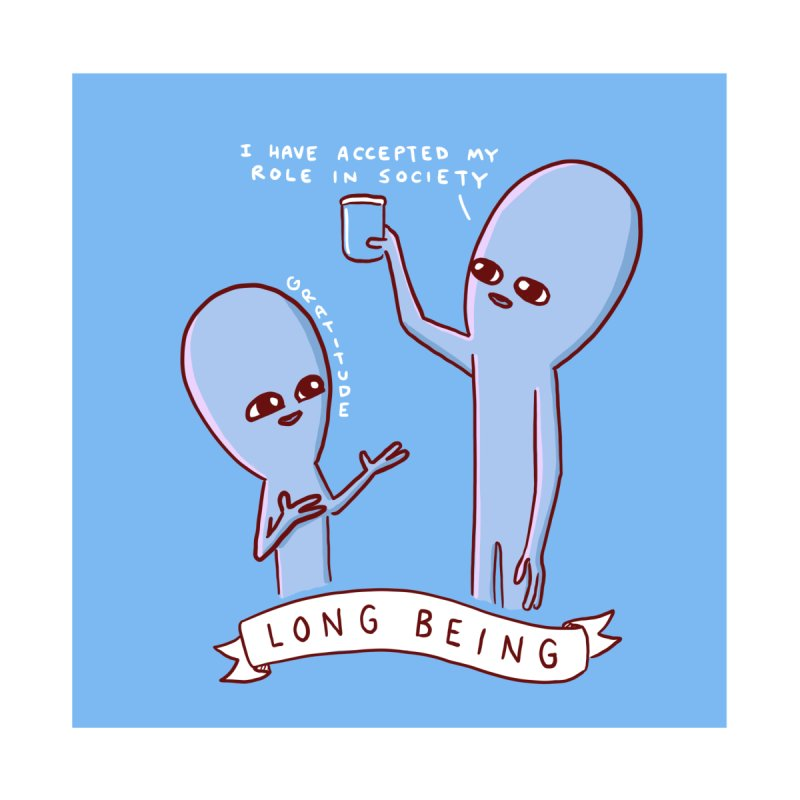 STRANGE PLANET SPECIAL PRODUCT: LONG BEING ON BLUE BACKGROUND Accessories Magnet by Nathan W Pyle Shop | Strange Planet Store | Thread