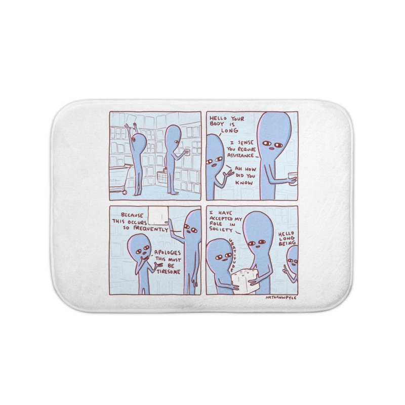 STRANGE PLANET: LONG BEING Home Bath Mat by Nathan W Pyle
