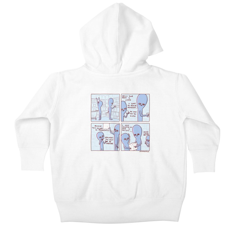 STRANGE PLANET: LONG BEING Kids Baby Zip-Up Hoody by Nathan W Pyle