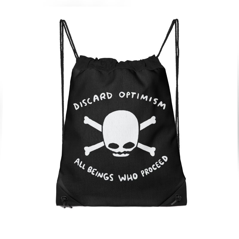 STRANGE PLANET SPECIAL PRODUCT: DISCARD OPTIMISM APPAREL AND ACCESSORIES Accessories Drawstring Bag Bag by Nathan W Pyle