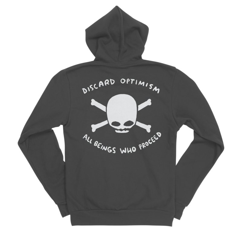 STRANGE PLANET SPECIAL PRODUCT: DISCARD OPTIMISM APPAREL AND ACCESSORIES Men's Sponge Fleece Zip-Up Hoody by Nathan W Pyle