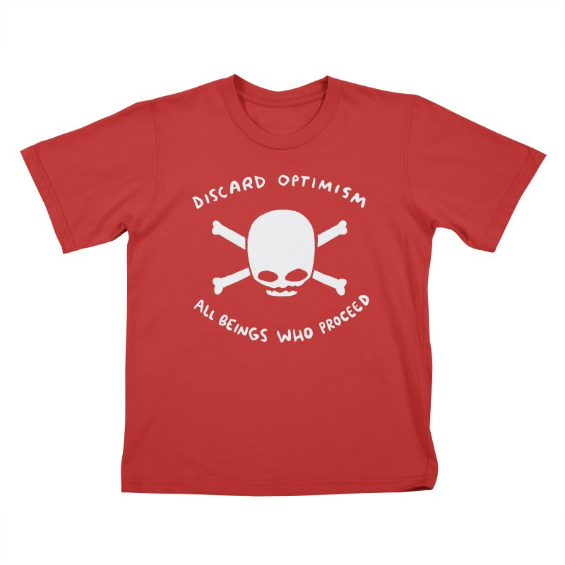 STRANGE PLANET SPECIAL PRODUCT: DISCARD OPTIMISM APPAREL AND ACCESSORIES Kids T-Shirt by Nathan W Pyle