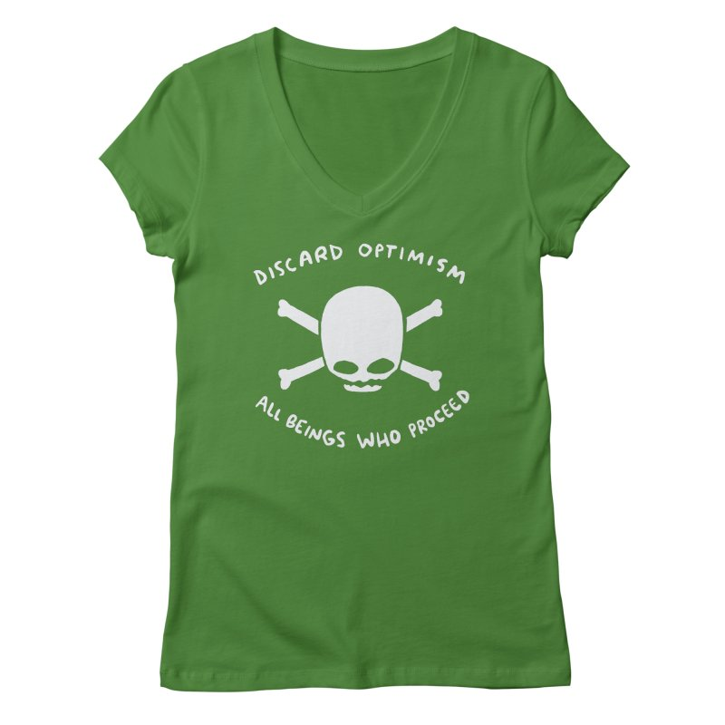 STRANGE PLANET SPECIAL PRODUCT: DISCARD OPTIMISM APPAREL AND ACCESSORIES Women's Regular V-Neck by Nathan W Pyle