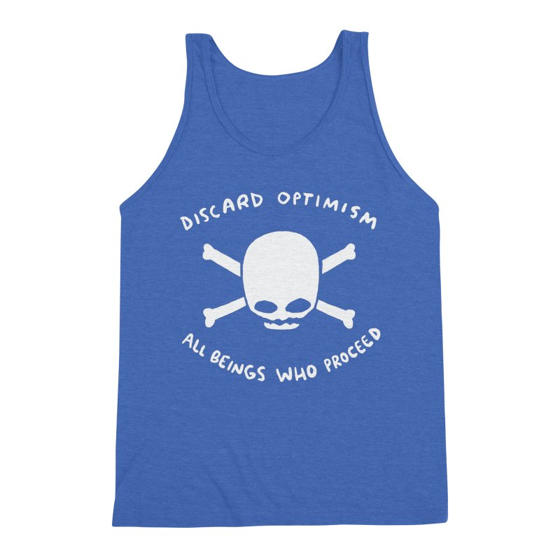 STRANGE PLANET SPECIAL PRODUCT: DISCARD OPTIMISM APPAREL AND ACCESSORIES Men's Triblend Tank by Nathan W Pyle