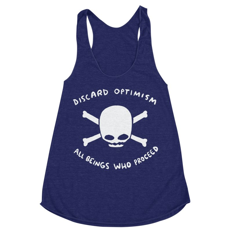 STRANGE PLANET SPECIAL PRODUCT: DISCARD OPTIMISM APPAREL AND ACCESSORIES Women's Racerback Triblend Tank by Nathan W Pyle
