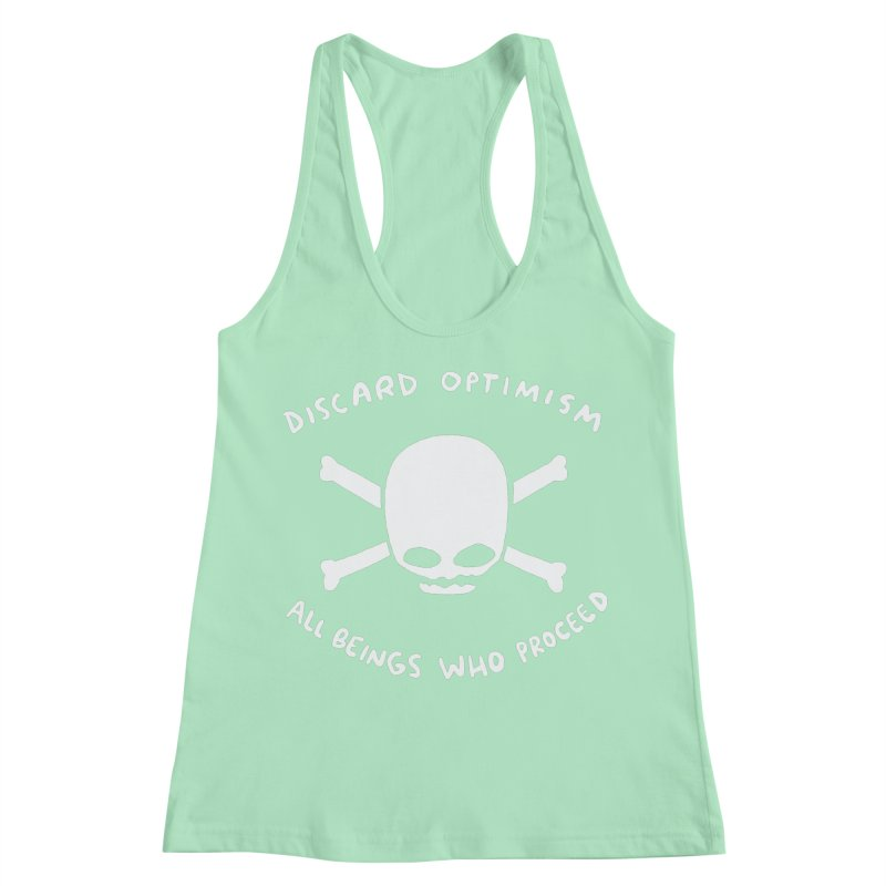 STRANGE PLANET SPECIAL PRODUCT: DISCARD OPTIMISM APPAREL AND ACCESSORIES Women's Racerback Tank by Nathan W Pyle