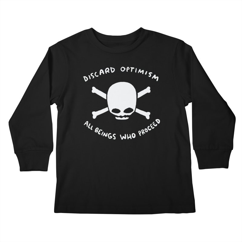 STRANGE PLANET SPECIAL PRODUCT: DISCARD OPTIMISM APPAREL AND ACCESSORIES Kids Longsleeve T-Shirt by Nathan W Pyle