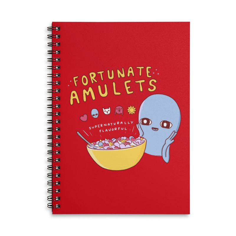 STRANGE PLANET SPECIAL PRODUCT: FORTUNATE AMULETS - RED Accessories Lined Spiral Notebook by Nathan W Pyle