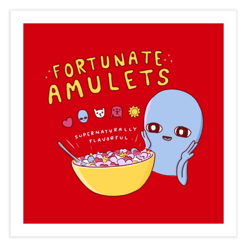 STRANGE PLANET SPECIAL PRODUCT: FORTUNATE AMULETS - RED Home Fine Art Print by Nathan W Pyle