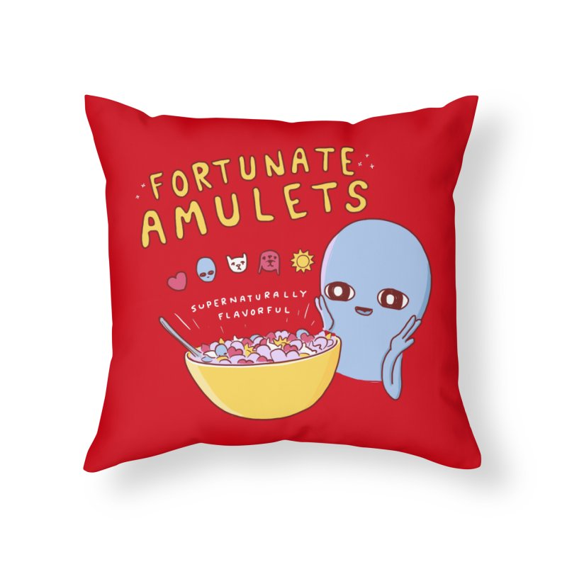 STRANGE PLANET SPECIAL PRODUCT: FORTUNATE AMULETS - RED Home Throw Pillow by Nathan W Pyle
