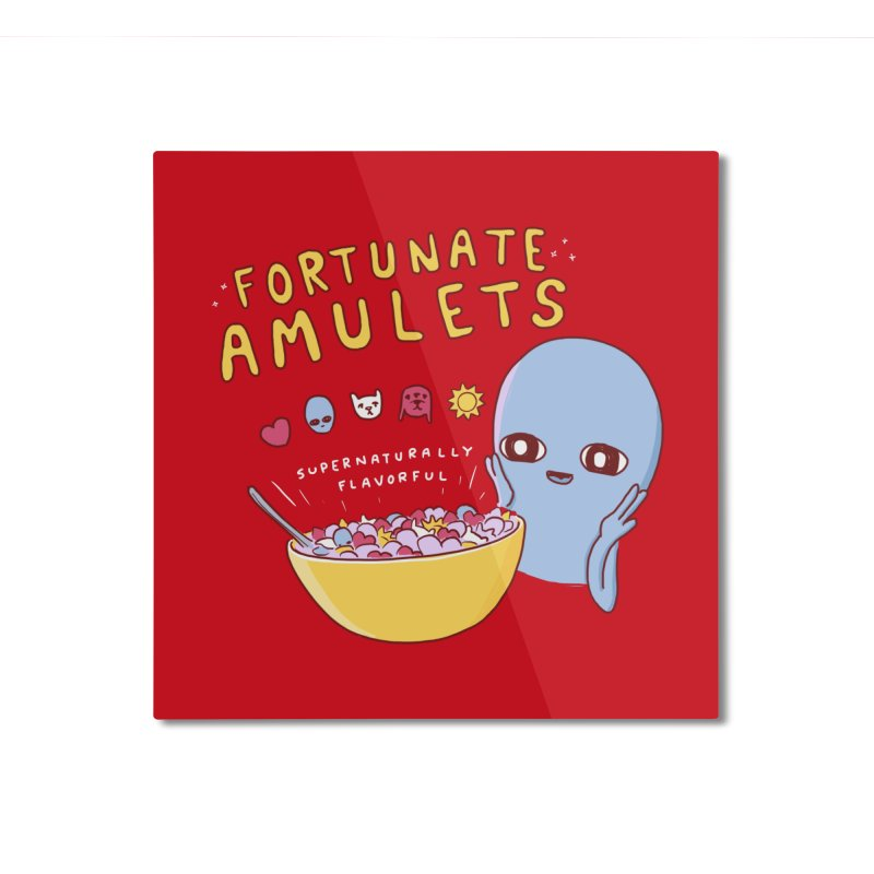 STRANGE PLANET SPECIAL PRODUCT: FORTUNATE AMULETS - RED Home Mounted Aluminum Print by Nathan W Pyle