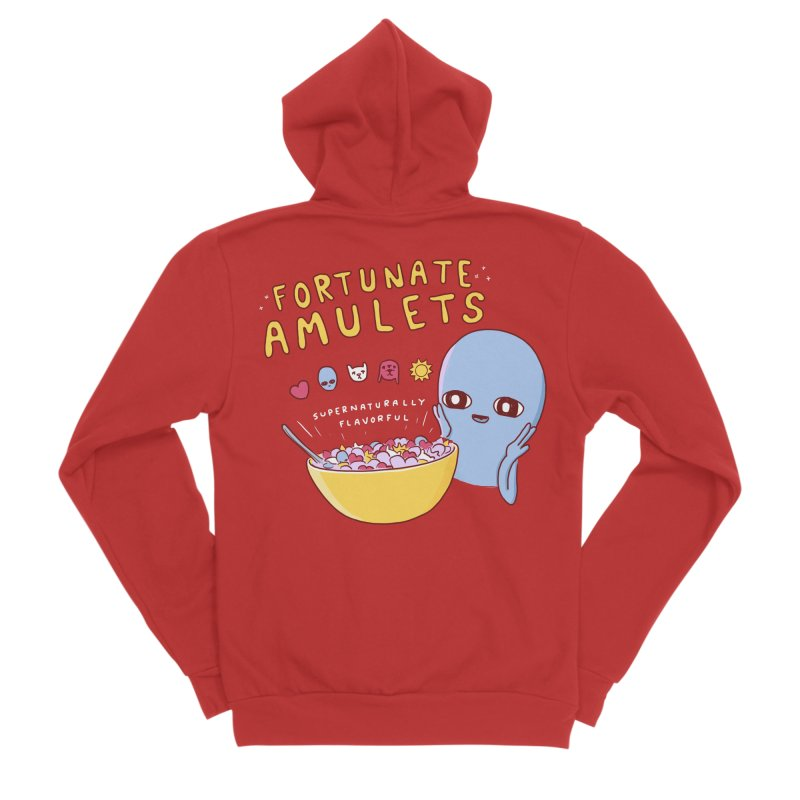 STRANGE PLANET SPECIAL PRODUCT: FORTUNATE AMULETS - RED Men's Sponge Fleece Zip-Up Hoody by Nathan W Pyle
