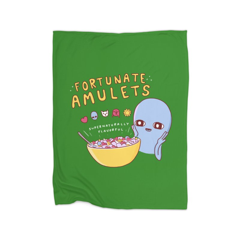 STRANGE PLANET SPECIAL PRODUCT: FORTUNATE AMULETS - GREEN Home Fleece Blanket Blanket by Nathan W Pyle
