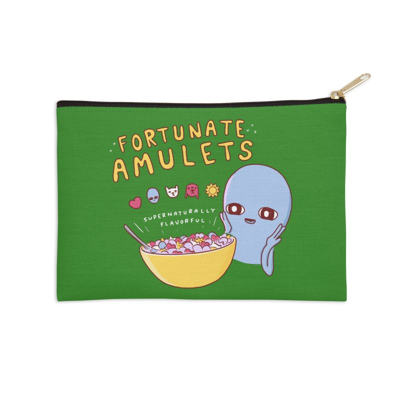 STRANGE PLANET SPECIAL PRODUCT: FORTUNATE AMULETS - GREEN Accessories Zip Pouch by Nathan W Pyle