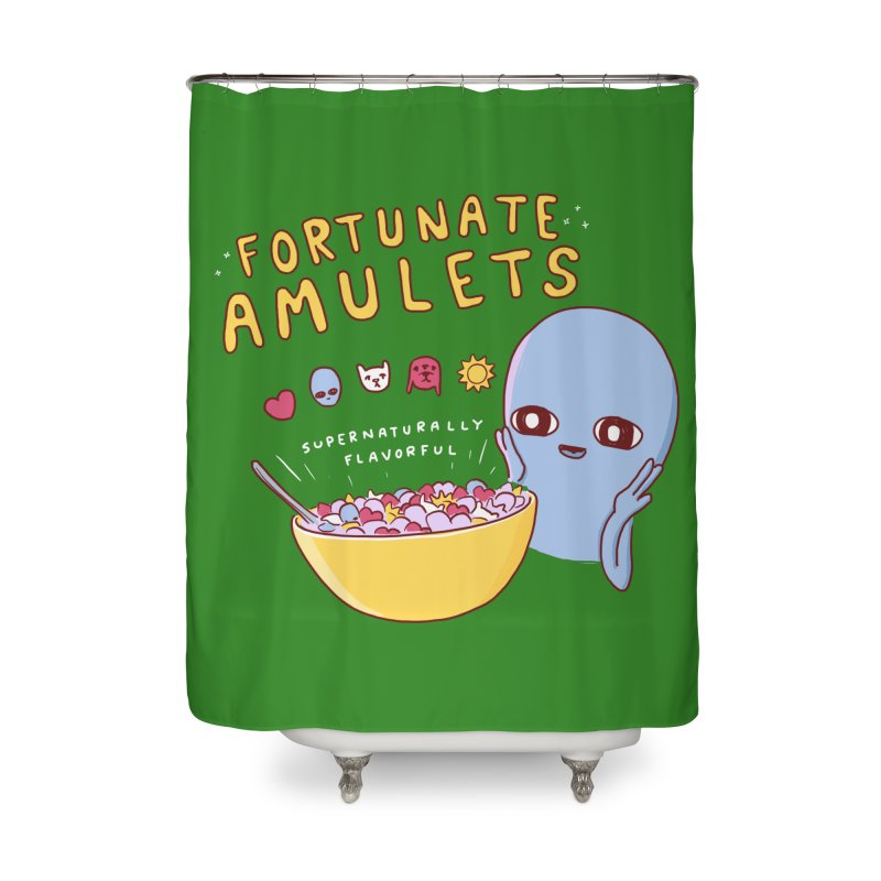 STRANGE PLANET SPECIAL PRODUCT: FORTUNATE AMULETS - GREEN Home Shower Curtain by Nathan W Pyle