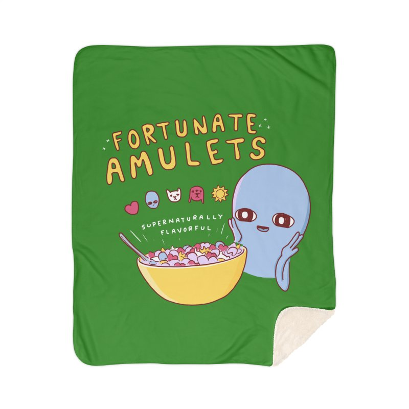STRANGE PLANET SPECIAL PRODUCT: FORTUNATE AMULETS - GREEN Home Sherpa Blanket Blanket by Nathan W Pyle