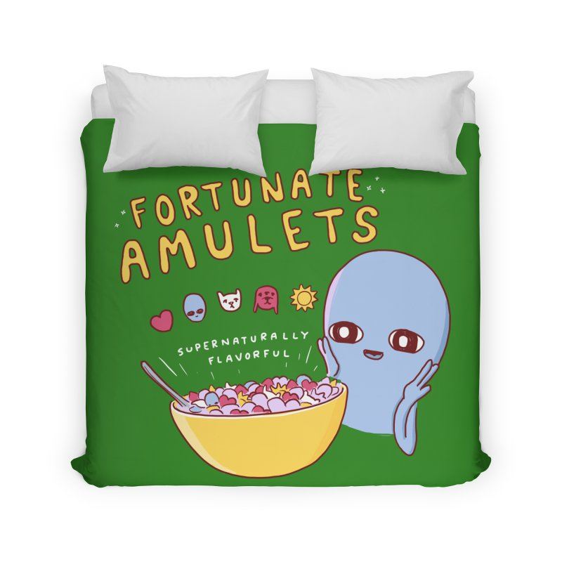 STRANGE PLANET SPECIAL PRODUCT: FORTUNATE AMULETS - GREEN Home Duvet by Nathan W Pyle
