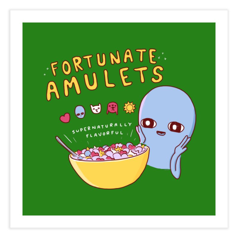 STRANGE PLANET SPECIAL PRODUCT: FORTUNATE AMULETS - GREEN Home Fine Art Print by Nathan W Pyle