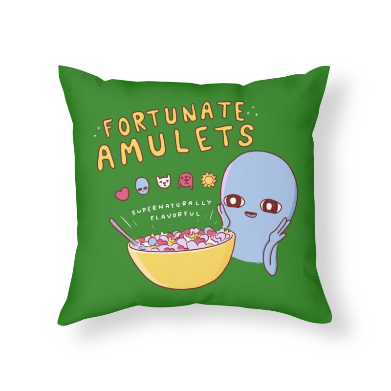 STRANGE PLANET SPECIAL PRODUCT: FORTUNATE AMULETS - GREEN Home Throw Pillow by Nathan W Pyle
