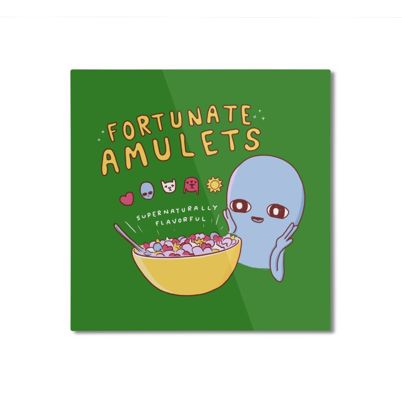 STRANGE PLANET SPECIAL PRODUCT: FORTUNATE AMULETS - GREEN Home Mounted Aluminum Print by Nathan W Pyle