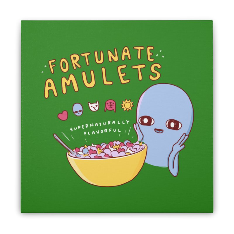 STRANGE PLANET SPECIAL PRODUCT: FORTUNATE AMULETS - GREEN Home Stretched Canvas by Nathan W Pyle